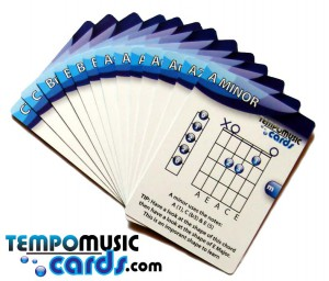 Flash cards to teach 50 essential guitar chords