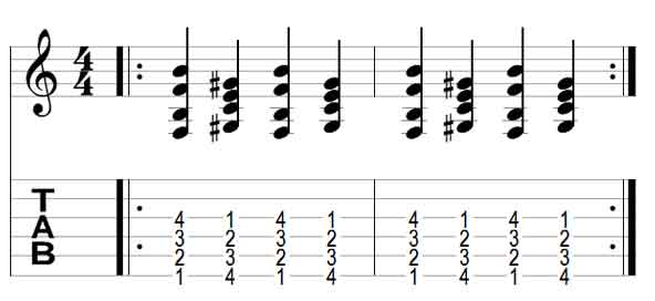 Guitar Chord Exercise 1